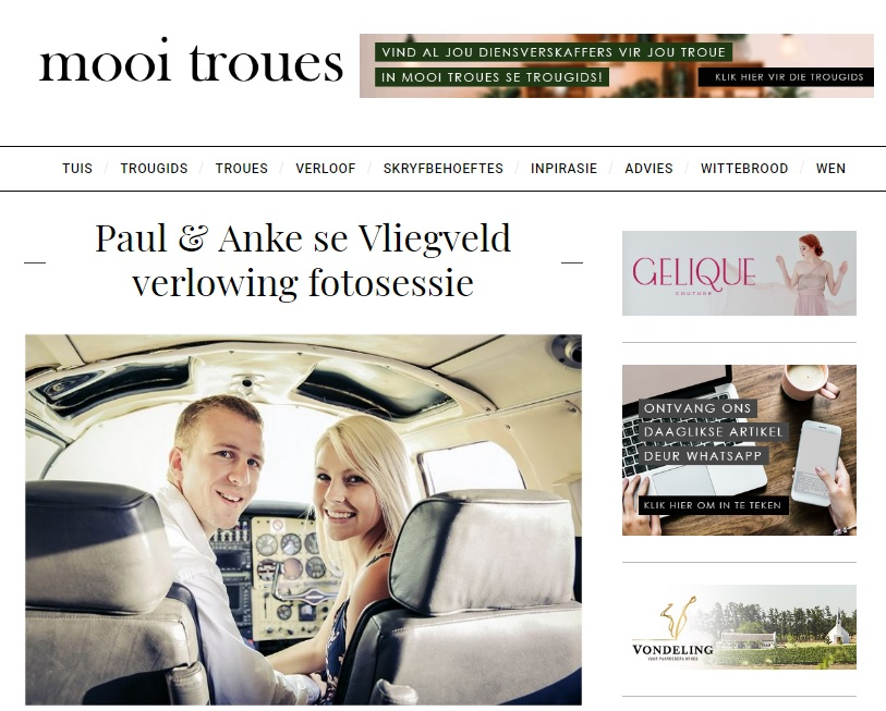 Paul & Anke se verlowingsfoto's verskyn op Mooi Troues
